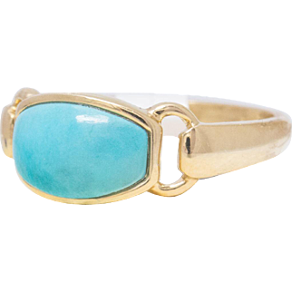 Solid 14K Yellow Gold Turquoise Ring 2.3 Grams