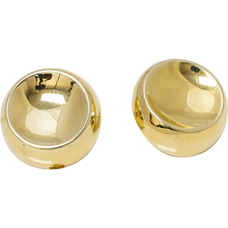Solid 14K Yellow Gold Indented Earrings 5.8 Grams