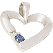 Solid 14K White Gold Genuine Sapphire & Natural Diamond Pendant 1.8 Grams