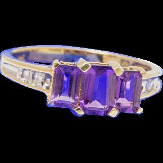 Solid 14K Yellow Gold Genuine Amethyst & Natural Diamond Ring 2.5 Grams