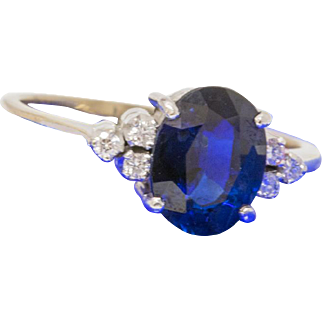 Solid 14K White Gold Genuine Sapphire & Natural Diamond Ring 1.9 Grams