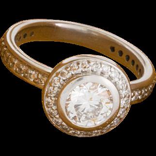 Solid 18K White Gold Natural Diamond Ring 7.3 Grams