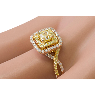 100% Authentic H.J. Namdar Solid 18K Rose Gold Natural Yellow & Diamond Ring3.9G
