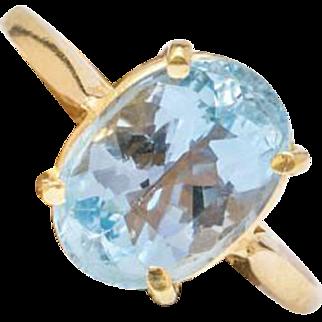 Solid 18K Yellow Gold Genuine Aquamarine Ring 3.6 Grams