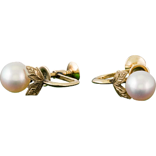 100% Authentic Mikimoto Solid 14K Yellow Gold Pearl Earrings 2.8 Grams