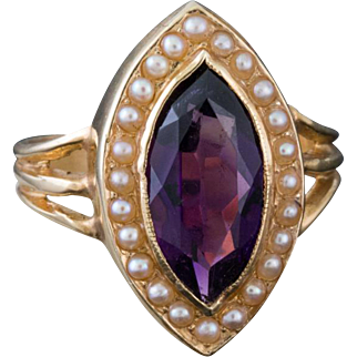 Solid 14K Yellow Gold Genuine Amethyst & Seed Pearl Ring 3.4 Grams
