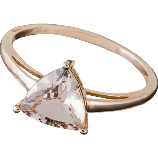 Solid 14K Rose Gold Trillion Morganite Ring 1.8 Grams