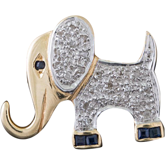 Solid 14K Two Tone Natural Diamond & Sapphire Elephant Pin 3.1 Grams