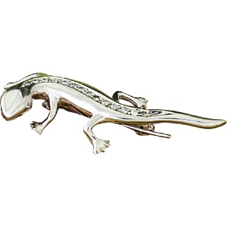 Solid 14K White Gold Natural Diamond Lizard Brooch 5 Grams