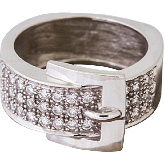 Solid 14K White Gold Natural Diamond Buckle Ring 10.7 Grams