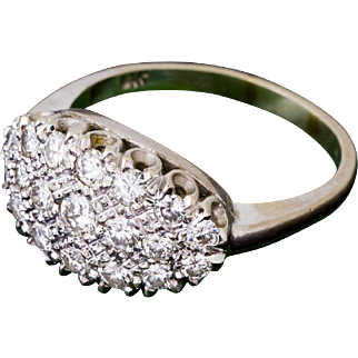 Solid 14K White Gold Natural Diamond Ring 5 Grams