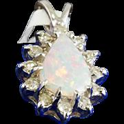 Solid 14K White Gold Genuine Opal & Natural Diamond Pendant 2.1 Grams