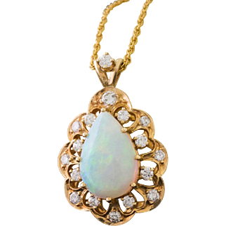 Solid 14K Yellow Gold Genuine Opal & Natural Diamond Pendant And Necklace 5.7 G