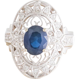 Solid 18K White Gold Genuine Sapphire & Natural Diamond Ring 6.2 Grams Size 6.25