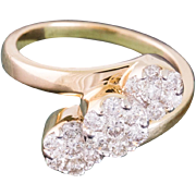 Solid 14K Yellow Gold Natural Diamond Three Flower Ring 5.2 Grams Size 7.25