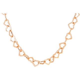 Solid 14K Rose Gold Heart Necklace Made In Turkey 18 Inches Long 8.8 Grams
