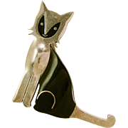 Taxco Sterling Silver and Black Enamel Cat Brooch/Pin