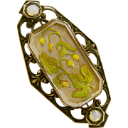 Victorian  Antique Sterling Silver Guilloche Enamel Floral Pin/Brooch