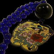 Large Asian Cloisonne Pendant Cobalt Blue Glass Beads Necklace