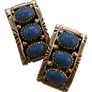 Michael Rogers Paiute Native American Sterling Silver Turquoise Clip Earrings