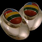 Native American Multi-Gemstone Inlay Sterling Silver Pierced Earrings