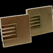 Vintage Modernist MCM Signed Sterling Silver Toggle Cufflinks