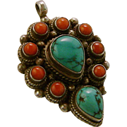 Nepal Sterling Silver Turquoise Coral Necklace Pendant
