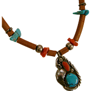 Navajo Gilbert Adeky Sterling Silver Turquoise Coral Leather Pendant Necklace