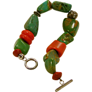 Turquoise Nugget Sterling Bead Bracelet with Coral