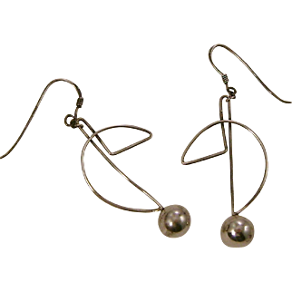 Large Sterling Silver Mid Century Modern Wire and Bead Pierced Earrings