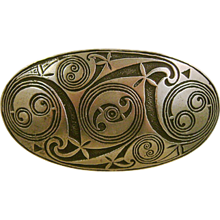 Large St. Justin Celtic Pewter Brooch Pin