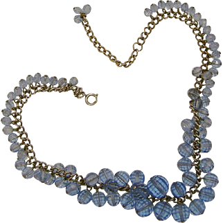 Transparent Sky Blue Glass Beads Cha Cha Necklace