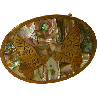 Mexico Brass Birds and Abalone Inlay Belt Buckle