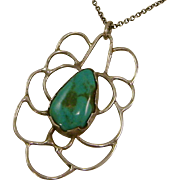 Dainty Turquoise and Sterling Silver Pendant and Chain Signed
