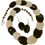 Unsigned Gerda Lynggaard Monies Denmark Black and White Bone Necklace and Pierced Earrings