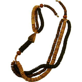 Asymmetric Multi-Strand Multi-Tonal 1970's Wood Beads Necklace