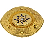 Victorian Mourning Brooch with Blue enamel Star