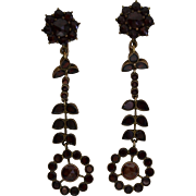Bohemian Garnet Dangle Ear Rings.