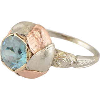 Retro Period Rose Ring with Natural Blue Zircon