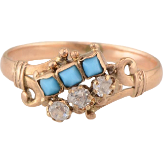 Antique 10K Rose Gold Ring with Faux Turquoise and Paste clear stone ring - Size 7 -