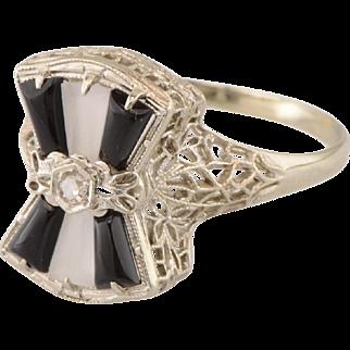 Vintage Filigree 14K Camphor Glass, Onyx, and Diamond Ring Art Deco Era