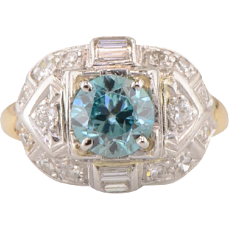 "Vintage Art Deco Blue Zircon and Diamond Ring ""Panel Top"" style in Platinum and 18K yellow gold"