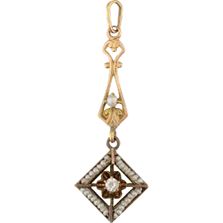 Victorian 14K gold seed pearl and diamond pendant