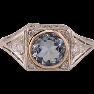 Platinum Art Deco Aquamarine & Diamond Filigree Hand Pierced Ring
