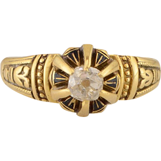 Victorian Yellow Gold Diamond Solitaire Ring