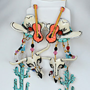 Lunch at the Ritz cowboy southwestern long earrings