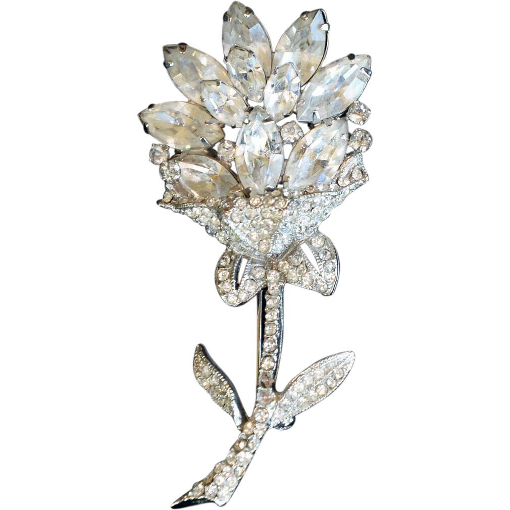 vintage signed weiss flower brooch pin clear stones sold. Black Bedroom Furniture Sets. Home Design Ideas
