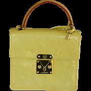 Vintage authentic Louis Vuitton monogram yellow patent leather handbag purse - Red Tag Sale Item