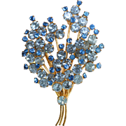 Vintage Made In Austria blue crystal spray brooch