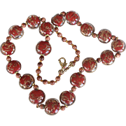 Vintage necklace with red and clear glass beads